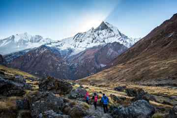 The traveler's walking on the way to Annapurna base camp