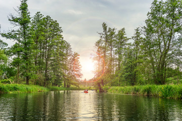 Kayaking in beautiful nature landscape