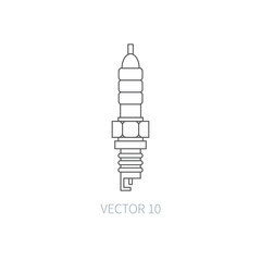 Line flat vector icon car repair part sparking-plug. Internal combustion engine elements. Industrial. Cartoon style. Illustration and element for your design. Monochrome. Auto service. Maintenance.