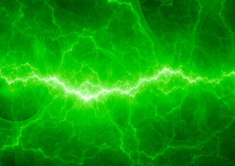 Green fractal lightning, electric background