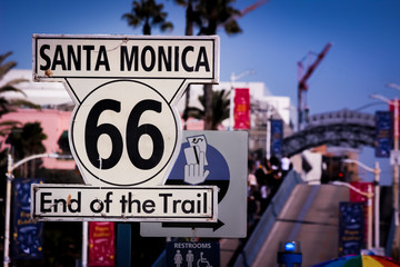 Iconic Route 66 End of Trail Sign at Santa Monica Pier