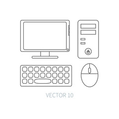 Flat line vector computer set icon. Cartoon style. Illustration and element for your design. Simple. Monochrome. Pc collection. IT. Electronic computing systems. Server. Data. Chip. System block.