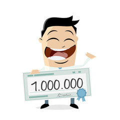 happy man with a million check