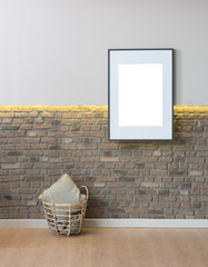 home design concept with brick wall background and yellow led style
