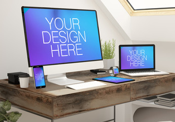 Devices on Desk in Home Office Mockup 3