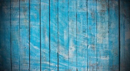 Texture of dark blue wooden planks with free space for text, old wood in vintage style