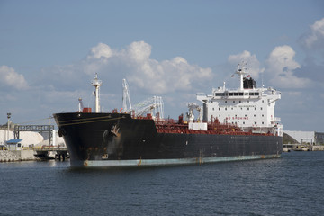 A chemical/oil tanker ship alongside in the Port of Tampa Florida USA