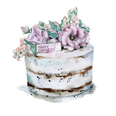 Pink flowers cake.Hand drawn watercolor illustration
