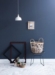 metal chair and basket with frames and white lamp style