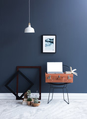 decorative suitcase and many accessories blue room concept