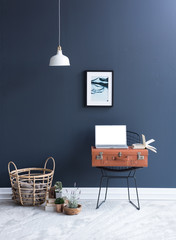 blue room style with orange suitcase and basket style