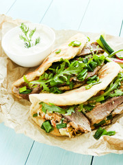 Pitas with duck