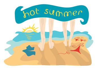 Spend the hot summer together/ Vector illustration a couple goes to bathe in the sea without clothes, hiding under a towel with an inscription