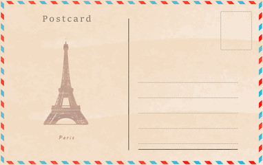 Vintage postcard. Vector design. Capitals of the world. Paris