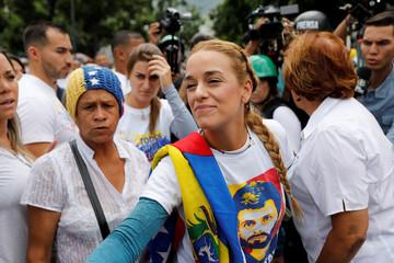 Lilian Tintori, wife of jailed opposition leader Leopoldo Lopez, rallies against Venezuela's President Maduro in Caracas
