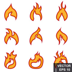 Flame. fire flat style. Smoke. Bonfire. For your design.