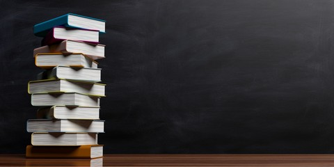 Books stacked on blackboard background. 3d illustration