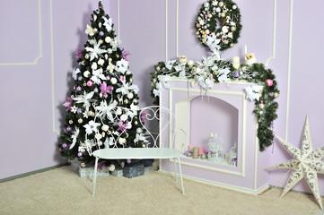 Christmas decorated room, photo studio interior