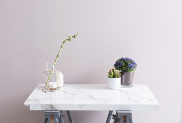 decorative part of home accessories on the white marble table