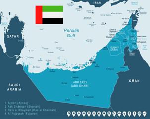United Arab Emirates - map and flag – illustration