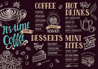 Coffee menu restaurant, food template.