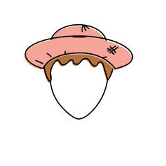 cute man face with hat