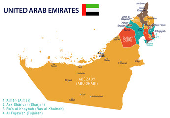 United Arab Emirates - map and flag – illustration