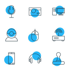 Vector Illustration Of 9 Technology Icons. Editable Pack Of Photography, Headset, Cursor Controller And Other Elements.