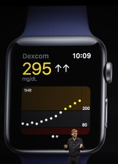 Kevin Lynch speaks near a projection of an Apple Watch during the company's annual world wide developer conference in San Jose