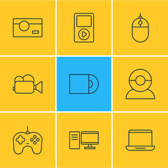 Vector Illustration Of 9 Device Icons. Editable Pack Of Computer, Cursor Controller, Video Chat And Other Elements.