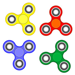 Fidget spinner stress relieving toy set vector eps 10