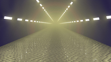 Lighted misty tunnel paved with setts. Horizontal 3d render background, pale yellow with blue rim.