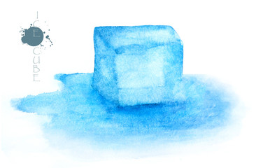 Ice cube - watercolor painting illustration on white background