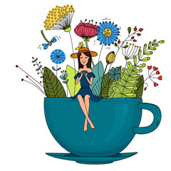 Girl with in a cup with plants.