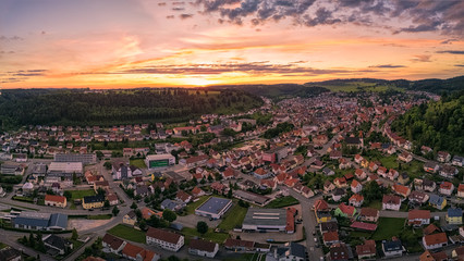 Sonnenuntergang über der Schwäbischen Alb