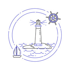 Traveling horizontal banner with sailboat on waves and lighthouse. Line art.