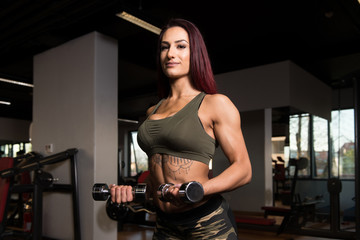 Woman With Dumbbells Exercising Biceps