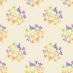 Seamless pattern with colorful decorative elements