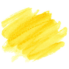 Yellow hand drawn watercolor stain