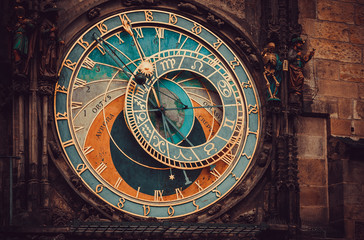Printed roller blinds Monument Historical medieval astronomical clock in Old Town Square in Prague, Czech Republic