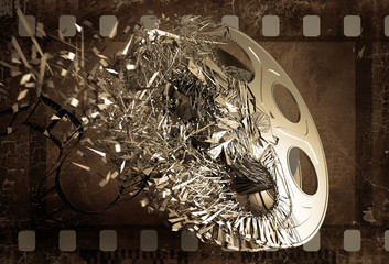 film reel shuttered into pieces