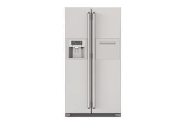 Modern fridge with side-by-side door system, 3D rendering