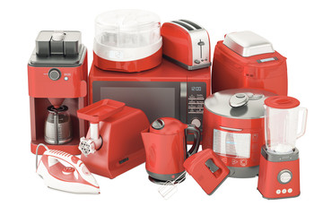 "Set of red kitchen home appliances. Toaster, kettle, coffeemaker, iron, microwave oven, mixer, blender, ""yogurt maker"", multicooker, grinder, bread machine, 3D rendering"