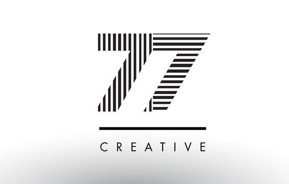 77 Black and White Lines Number Logo Design.