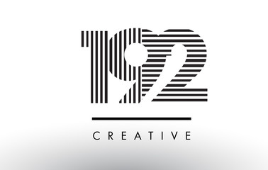 192 Black and White Lines Number Logo Design.