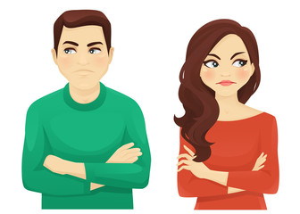 Woman and man angry emotion looking away