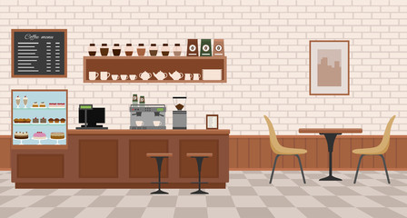 Empty cafe interior. Flat design vector illustration