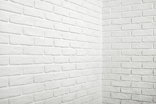 white brick wall with corner, abstract background photo