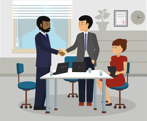 Diverse Business People handshaking after meeting. Diversity Partnership Flat Illustration Vector.