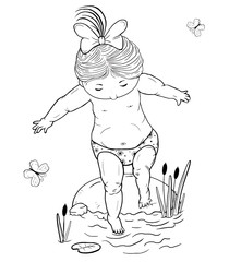 Vector line art illustration  of a small   girl  on a stone takes a step into the water .  Black and white.